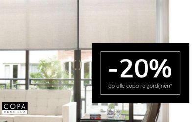 -𝟐𝟎% op Copa rolgordijnen