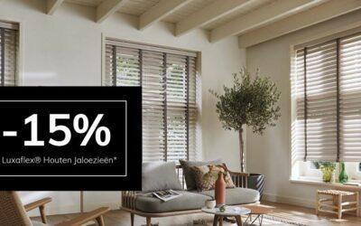 𝟭𝟱% 𝗸𝗼𝗿𝘁𝗶𝗻𝗴 op houten jaloezieën van Luxaflex®